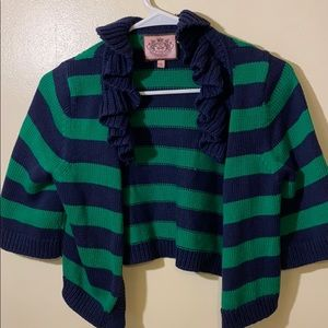 JUICY COUTURE Green Navy Striped Cropped Shrug